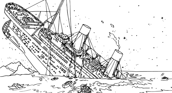 Titanic Sinking Colouring Pages